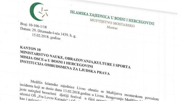 Mostarski muftija pozvao nadležne institucije da zaustave diskriminaciju bošnjačke djece u Kantonu 10