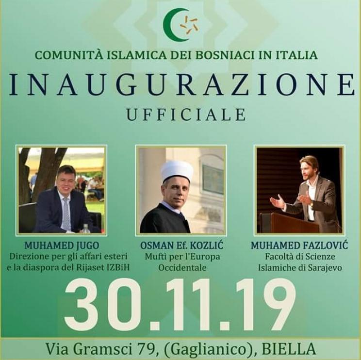 Svečana inauguracija Islamske zajednice Bošnjaka u Italiji 30. novembra